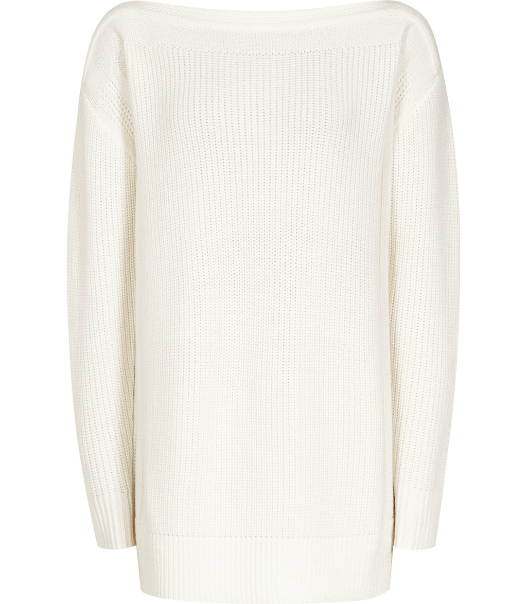 Amy Womens Slash Neck Jumper In White - neckline: slash/boat neckline; pattern: plain; length: below the bottom; style: standard; predominant colour: white; occasions: casual, creative work; fibres: wool - mix; fit: loose; sleeve length: long sleeve; sleeve style: standard; texture group: knits/crochet; pattern type: knitted - fine stitch; wardrobe: basic; season: a/w 2016