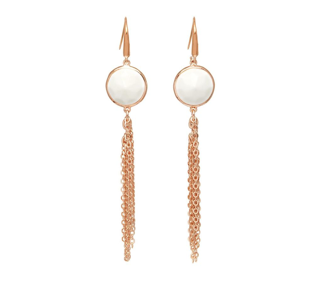 Nerio Tassel Earring White Sea Shell, Rose Gold - predominant colour: gold; occasions: casual, creative work; style: drop; length: long; size: standard; material: chain/metal; fastening: pierced; finish: metallic; season: a/w 2016; wardrobe: highlight