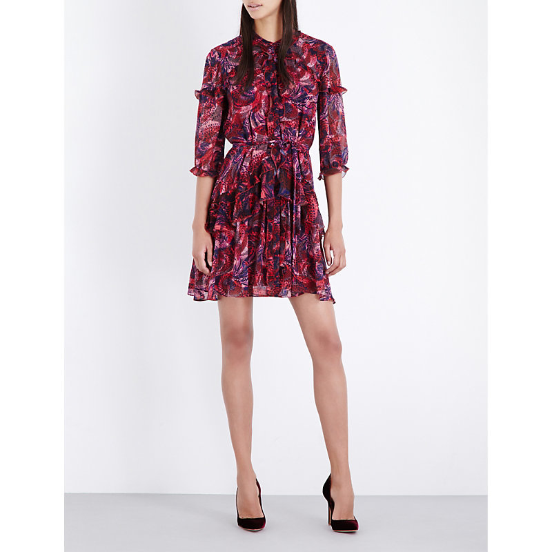 Tilly Ruffle Silk Crepe Dress, Women's, Crest - style: shirt; length: mid thigh; fit: loose; waist detail: belted waist/tie at waist/drawstring; predominant colour: hot pink; secondary colour: purple; occasions: evening; neckline: collarstand; fibres: silk - 100%; hip detail: adds bulk at the hips; sleeve length: 3/4 length; sleeve style: standard; texture group: sheer fabrics/chiffon/organza etc.; pattern type: fabric; pattern: patterned/print; multicoloured: multicoloured; season: a/w 2016; wardrobe: event