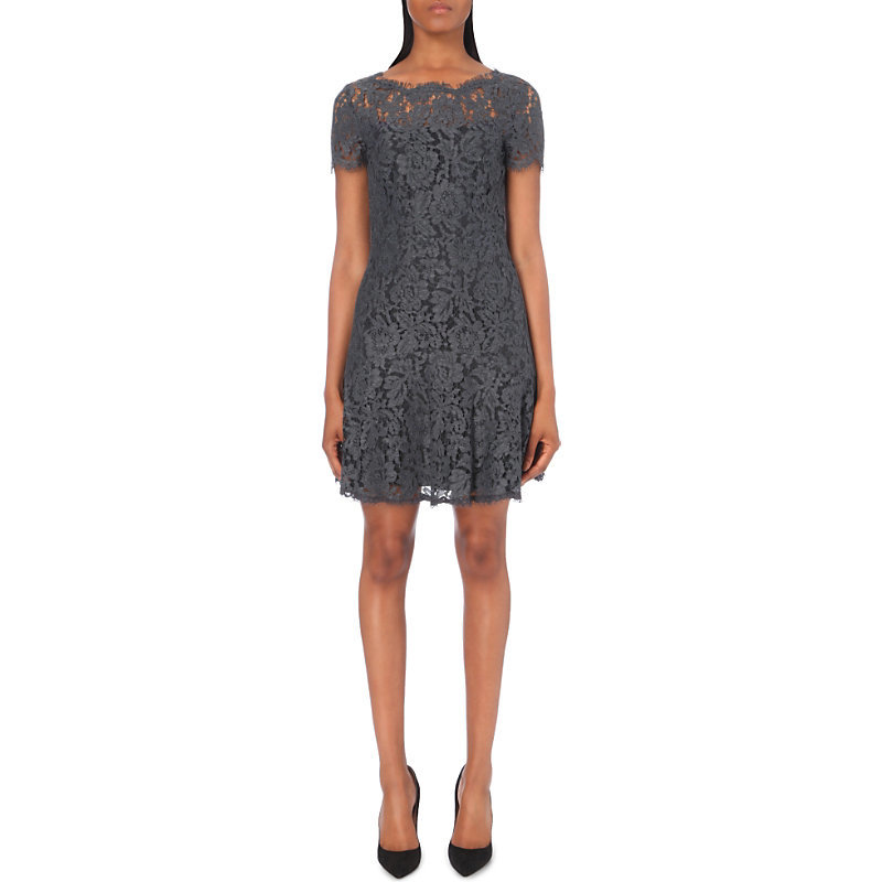 Fifi Cotton Blend Dress, Women's, Grey Melange - style: shift; fit: tailored/fitted; pattern: plain; predominant colour: charcoal; occasions: evening; length: just above the knee; fibres: cotton - stretch; neckline: crew; sleeve length: short sleeve; sleeve style: standard; texture group: lace; pattern type: fabric; season: a/w 2016; wardrobe: event