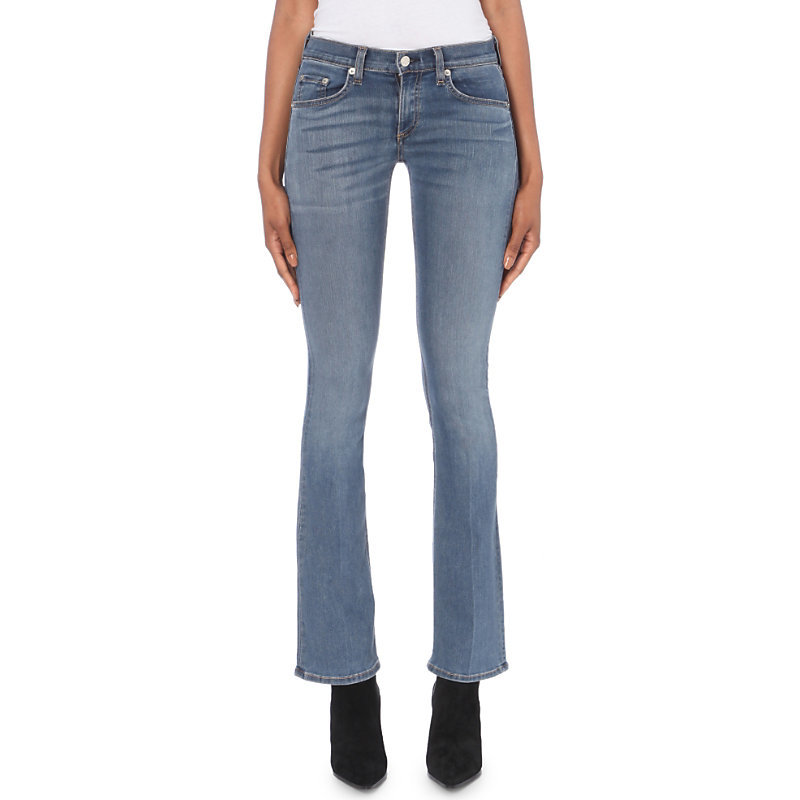 Elma Bootcut Mid Rise Jeans, Women's - style: bootcut; length: standard; pattern: plain; pocket detail: traditional 5 pocket; waist: mid/regular rise; predominant colour: denim; occasions: casual; fibres: cotton - mix; jeans detail: whiskering, shading down centre of thigh, washed/faded; texture group: denim; pattern type: fabric; wardrobe: basic; season: a/w 2016