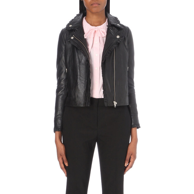 Cate Leather Jacket, Women's, Noir - pattern: plain; style: biker; collar: asymmetric biker; fit: slim fit; predominant colour: black; occasions: casual; length: standard; fibres: leather - 100%; sleeve length: long sleeve; sleeve style: standard; texture group: leather; collar break: medium; pattern type: fabric; wardrobe: basic; season: a/w 2016