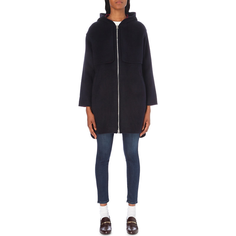 Garcon Wool Blend Coat, Women's, Dark Blue/Gold - pattern: plain; fit: loose; style: parka; collar: high neck; length: mid thigh; predominant colour: navy; occasions: casual; fibres: wool - mix; sleeve length: long sleeve; sleeve style: standard; texture group: knits/crochet; collar break: medium; pattern type: fabric; wardrobe: basic; season: a/w 2016