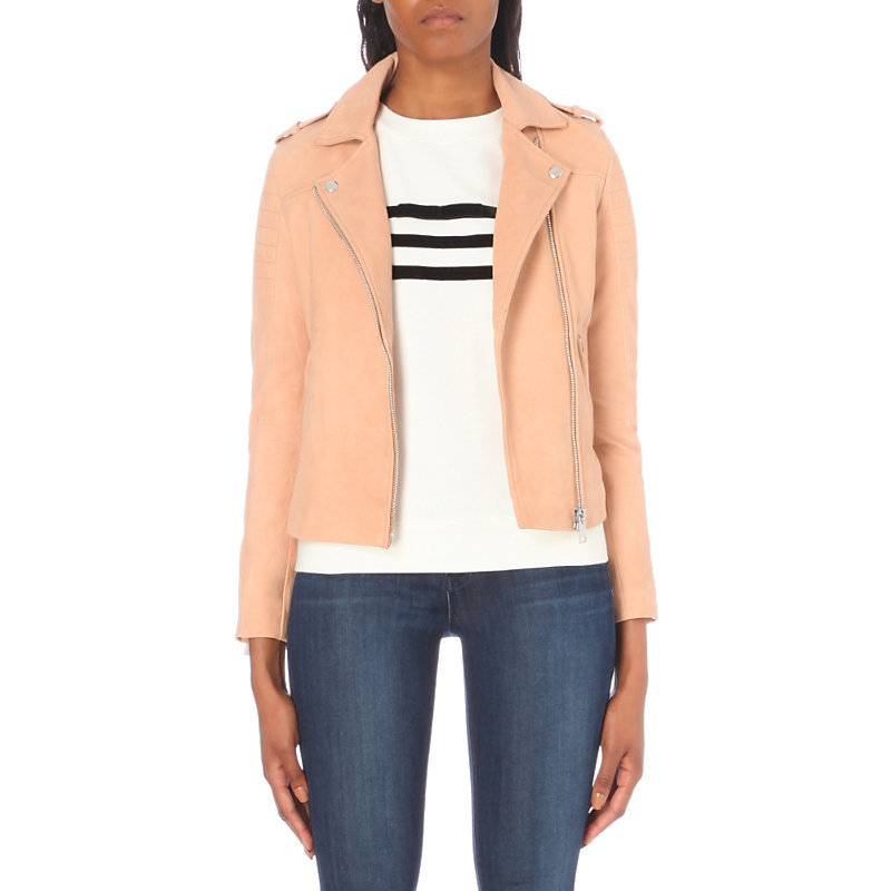 Camille Leather Jacket, Women's, Beige - pattern: plain; style: biker; collar: asymmetric biker; fit: slim fit; predominant colour: nude; occasions: casual; length: standard; fibres: leather - 100%; sleeve length: long sleeve; sleeve style: standard; texture group: leather; collar break: medium; pattern type: fabric; wardrobe: basic; season: a/w 2016