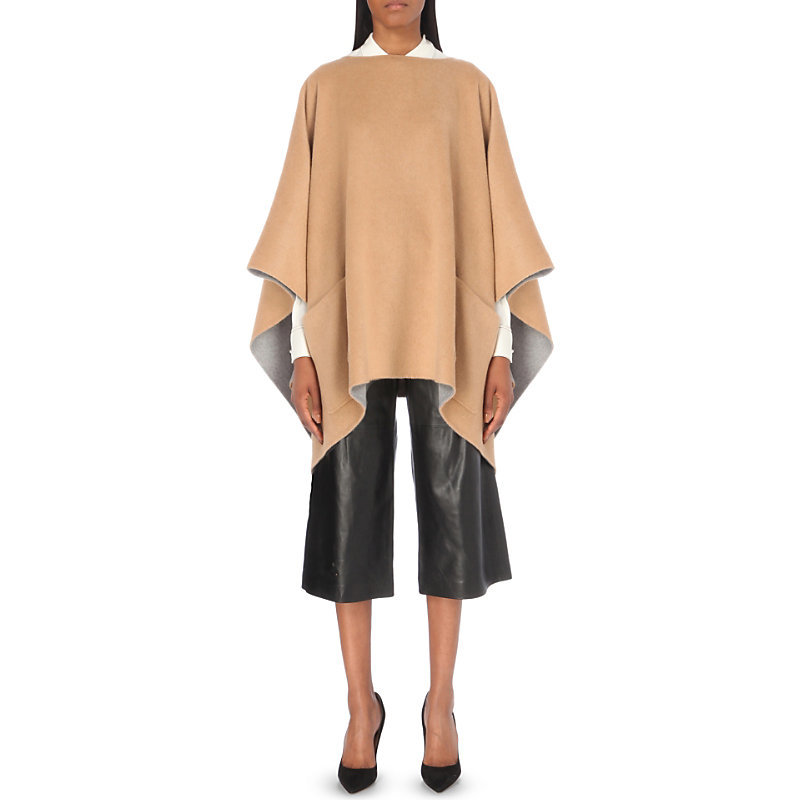 Draped Wool Blend Poncho, Women's, Dk Camel Pearl Heather - pattern: plain; length: below the bottom; collar: round collar/collarless; fit: loose; style: poncho/blanket; predominant colour: camel; occasions: casual; fibres: wool - mix; sleeve length: 3/4 length; texture group: knits/crochet; collar break: high; pattern type: fabric; sleeve style: cape/poncho sleeve; season: a/w 2016; wardrobe: highlight
