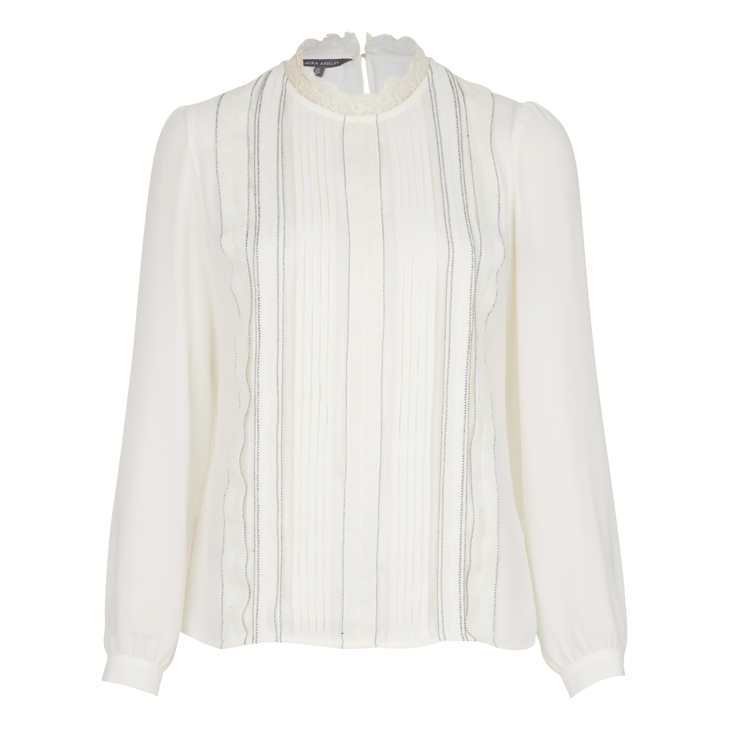 Lace Collar Pleat Front Blouse - pattern: plain; neckline: high neck; style: blouse; bust detail: ruching/gathering/draping/layers/pintuck pleats at bust; predominant colour: ivory/cream; occasions: work, creative work; length: standard; fibres: polyester/polyamide - 100%; fit: body skimming; sleeve length: long sleeve; sleeve style: standard; pattern type: fabric; texture group: other - light to midweight; embellishment: lace; season: a/w 2016; wardrobe: highlight