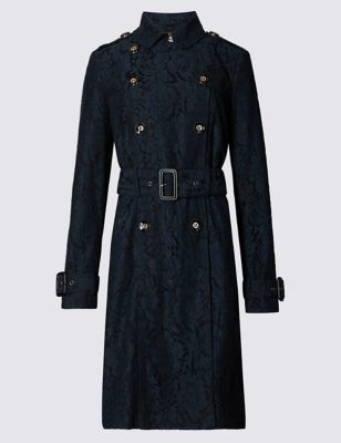 Lace Trench Collared Coat - pattern: plain; style: trench coat; length: on the knee; collar: high neck; fit: slim fit; hip detail: fitted at hip; predominant colour: black; occasions: casual; fibres: polyester/polyamide - mix; waist detail: belted waist/tie at waist/drawstring; sleeve length: long sleeve; sleeve style: standard; collar break: high; pattern type: fabric; texture group: woven light midweight; season: a/w 2016
