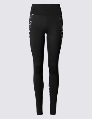 Winter Floral Breathable Leggings - length: standard; style: leggings; waist: high rise; predominant colour: black; fibres: polyester/polyamide - stretch; texture group: jersey - clingy; fit: skinny/tight leg; pattern type: fabric; pattern: patterned/print; occasions: activity; pattern size: standard (bottom); season: a/w 2016