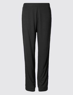 Side Striped Joggers - length: standard; pattern: plain; style: tracksuit pants; waist detail: belted waist/tie at waist/drawstring; waist: mid/regular rise; predominant colour: black; occasions: casual; fibres: viscose/rayon - stretch; fit: baggy; pattern type: fabric; texture group: jersey - stretchy/drapey; wardrobe: basic; season: a/w 2016