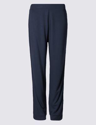 Side Striped Joggers - length: standard; pattern: plain; style: tracksuit pants; waist detail: belted waist/tie at waist/drawstring; waist: mid/regular rise; predominant colour: navy; occasions: casual; fibres: viscose/rayon - stretch; fit: baggy; pattern type: fabric; texture group: jersey - stretchy/drapey; pattern size: standard (bottom); wardrobe: basic; season: a/w 2016