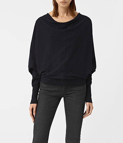 Elgar Cowl Neck Jumper - neckline: cowl/draped neck; pattern: plain; style: standard; sleeve style: leg o mutton; predominant colour: black; occasions: casual, work, creative work; length: standard; fibres: cotton - 100%; fit: standard fit; sleeve length: long sleeve; texture group: knits/crochet; pattern type: knitted - fine stitch; wardrobe: basic; season: a/w 2016