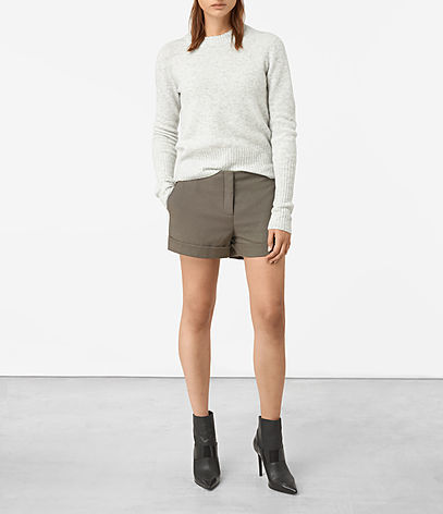 Alyas Shorts - pattern: plain; waist: mid/regular rise; predominant colour: taupe; occasions: casual, holiday; fibres: wool - mix; texture group: cotton feel fabrics; pattern type: fabric; style: shorts; length: short shorts; fit: slim leg; season: a/w 2016; wardrobe: holiday