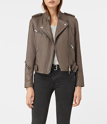 Atkinson Leather Biker Jacket - pattern: plain; style: biker; collar: asymmetric biker; fit: slim fit; predominant colour: taupe; occasions: casual; length: standard; fibres: leather - 100%; sleeve length: long sleeve; sleeve style: standard; texture group: leather; collar break: medium; pattern type: fabric; wardrobe: basic; season: a/w 2016