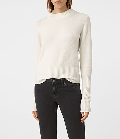 Alpha Crew Neck Jumper - pattern: plain; neckline: high neck; style: standard; predominant colour: white; occasions: casual; length: standard; fibres: wool - mix; fit: standard fit; sleeve length: long sleeve; sleeve style: standard; texture group: knits/crochet; pattern type: knitted - fine stitch; season: a/w 2016