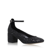 Kingdom - predominant colour: black; occasions: evening, occasion; material: fabric; heel height: mid; embellishment: glitter; ankle detail: ankle strap; heel: block; toe: round toe; style: courts; finish: metallic; pattern: plain; season: a/w 2016
