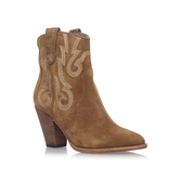 Joe - predominant colour: camel; occasions: casual, creative work; material: suede; heel height: high; heel: block; toe: pointed toe; boot length: ankle boot; style: cowboy; finish: plain; pattern: plain; season: a/w 2016; wardrobe: highlight