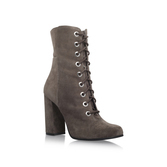 Teisha - predominant colour: charcoal; occasions: casual, creative work; material: suede; heel height: high; heel: block; toe: round toe; boot length: ankle boot; finish: plain; pattern: plain; style: lace ups; season: a/w 2016; wardrobe: highlight