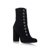 Teisha - predominant colour: black; occasions: casual, creative work; material: suede; heel height: high; heel: block; toe: round toe; boot length: ankle boot; finish: plain; pattern: plain; style: lace ups; season: a/w 2016