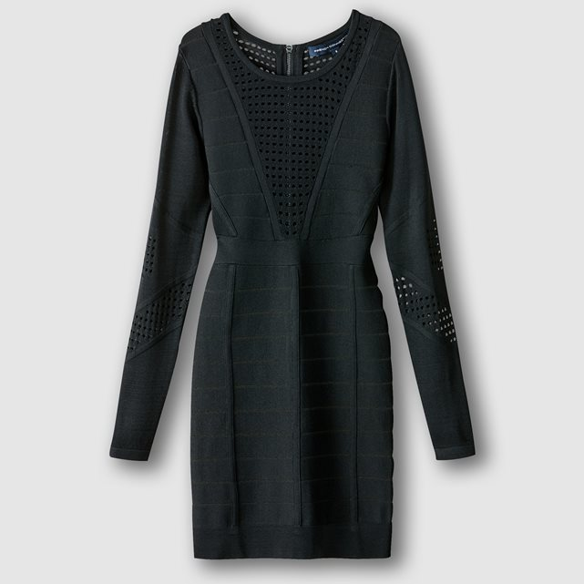 Duo Danni Knits Ls Rdnk Dress With Long Sleeves And Openwork Details - style: shift; length: mid thigh; neckline: round neck; pattern: plain; hip detail: draws attention to hips; predominant colour: black; occasions: evening; fit: body skimming; fibres: viscose/rayon - 100%; sleeve length: long sleeve; sleeve style: standard; texture group: jersey - clingy; pattern type: fabric; season: a/w 2016; wardrobe: event; embellishment: contrast fabric; embellishment location: bust, sleeve/cuff
