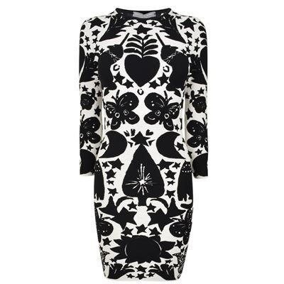 Pagan Print Dress - fit: tight; style: bodycon; predominant colour: white; secondary colour: black; occasions: evening; length: just above the knee; fibres: wool - mix; neckline: crew; sleeve length: 3/4 length; sleeve style: standard; texture group: knits/crochet; pattern type: fabric; pattern: patterned/print; multicoloured: multicoloured; season: a/w 2016; wardrobe: event