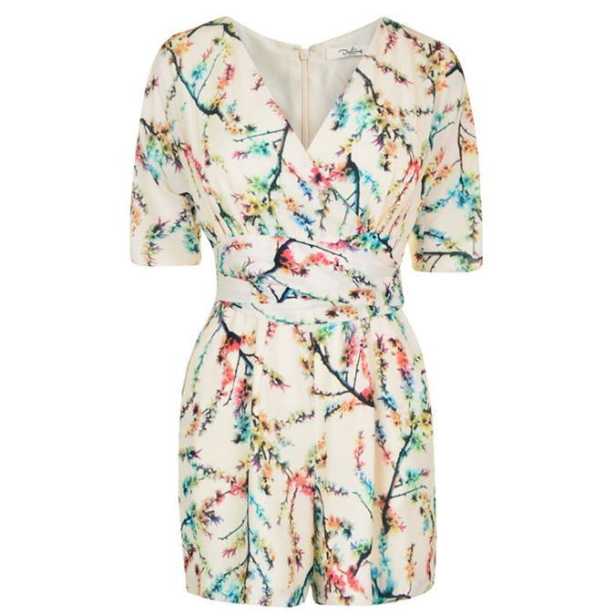 Larissa Floral Playsuit - neckline: v-neck; length: short shorts; predominant colour: white; secondary colour: turquoise; occasions: casual; fit: body skimming; fibres: polyester/polyamide - 100%; sleeve length: short sleeve; sleeve style: standard; style: playsuit; pattern type: fabric; pattern: florals; texture group: jersey - stretchy/drapey; multicoloured: multicoloured; season: a/w 2016; wardrobe: highlight