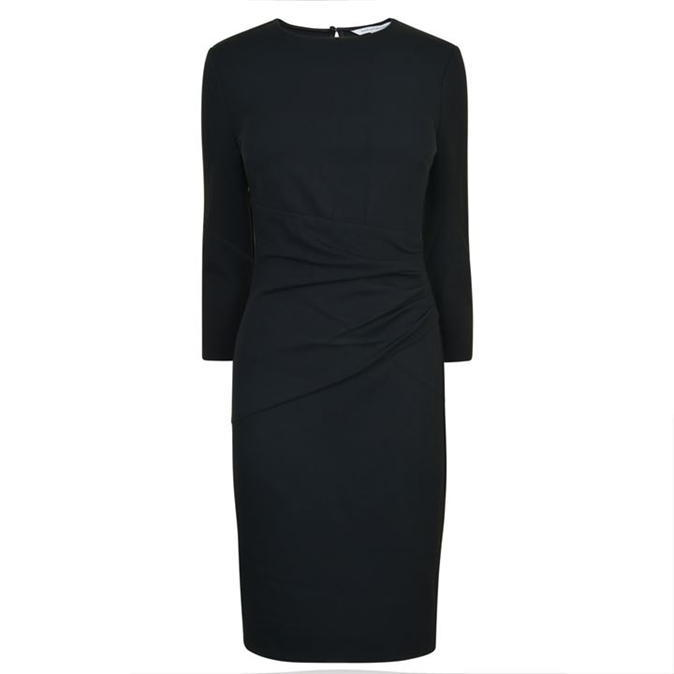 Glennie Dress - style: shift; length: below the knee; fit: tailored/fitted; pattern: plain; waist detail: flattering waist detail; predominant colour: black; occasions: evening; neckline: crew; sleeve length: long sleeve; sleeve style: standard; pattern type: fabric; texture group: jersey - stretchy/drapey; fibres: viscose/rayon - mix; season: a/w 2016; wardrobe: event