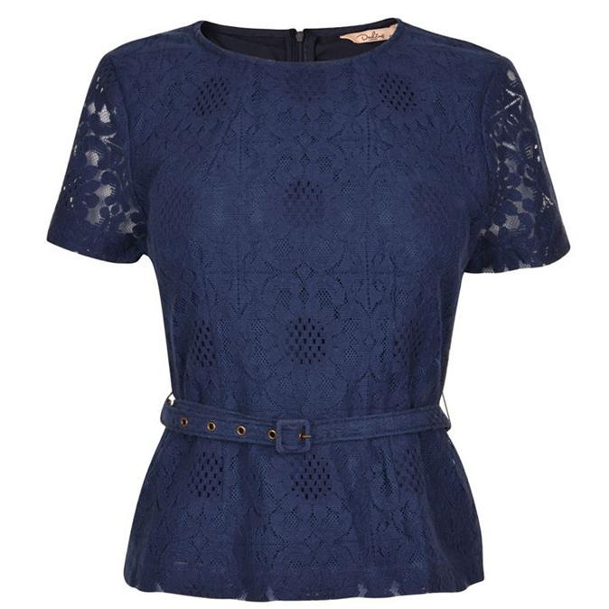 Erin Top - neckline: round neck; waist detail: belted waist/tie at waist/drawstring; predominant colour: navy; occasions: work, occasion; length: standard; style: top; fibres: cotton - mix; fit: tailored/fitted; sleeve length: short sleeve; sleeve style: standard; texture group: lace; pattern type: fabric; pattern size: standard; pattern: patterned/print; embellishment: lace; season: a/w 2016; wardrobe: highlight