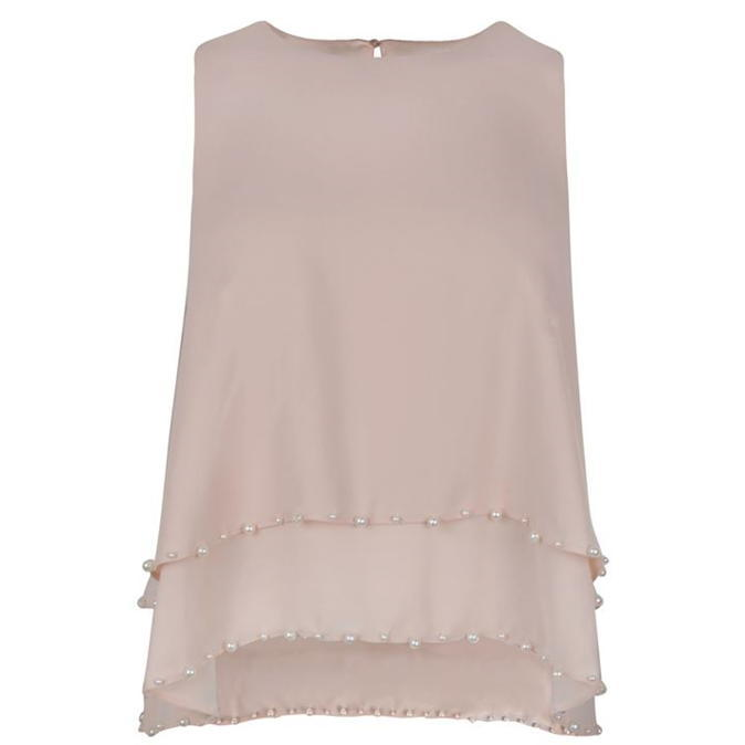 Jess Beaded Swing Blouse - pattern: plain; sleeve style: sleeveless; predominant colour: blush; occasions: evening; length: standard; style: top; fibres: polyester/polyamide - 100%; fit: body skimming; neckline: crew; sleeve length: sleeveless; texture group: sheer fabrics/chiffon/organza etc.; pattern type: fabric; embellishment: beading; season: a/w 2016; wardrobe: event