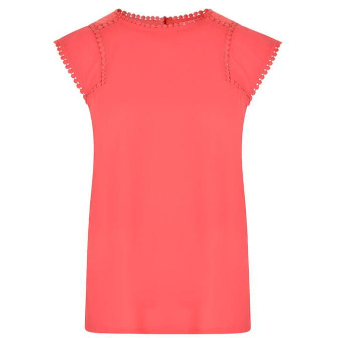 Quinn Top - neckline: round neck; sleeve style: capped; pattern: plain; predominant colour: coral; occasions: casual, creative work; length: standard; style: top; fibres: cotton - 100%; fit: body skimming; sleeve length: short sleeve; pattern type: fabric; texture group: jersey - stretchy/drapey; season: a/w 2016; wardrobe: highlight