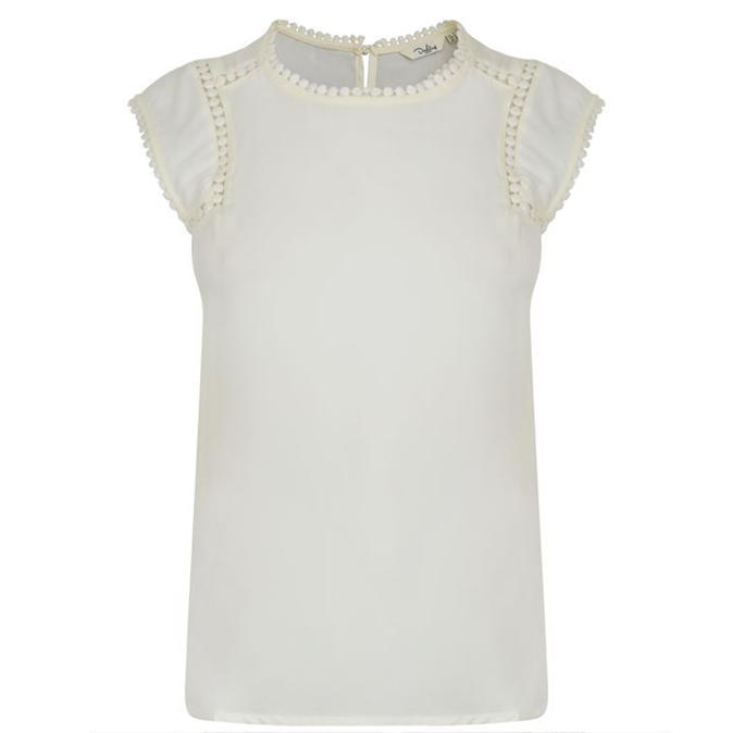 Quinn Top - sleeve style: capped; pattern: plain; neckline: high neck; predominant colour: white; occasions: casual; length: standard; style: top; fibres: polyester/polyamide - 100%; fit: body skimming; sleeve length: short sleeve; texture group: sheer fabrics/chiffon/organza etc.; pattern type: fabric; embellishment: lace; season: a/w 2016; wardrobe: highlight