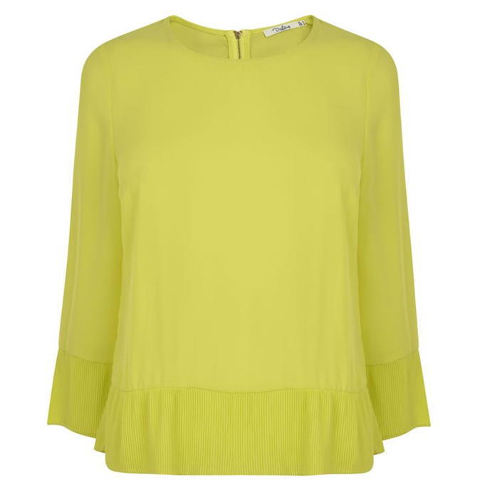 Pandora Top - neckline: round neck; pattern: plain; predominant colour: primrose yellow; occasions: casual, creative work; length: standard; style: top; fibres: polyester/polyamide - 100%; fit: body skimming; sleeve length: 3/4 length; sleeve style: standard; texture group: sheer fabrics/chiffon/organza etc.; pattern type: fabric; season: a/w 2016