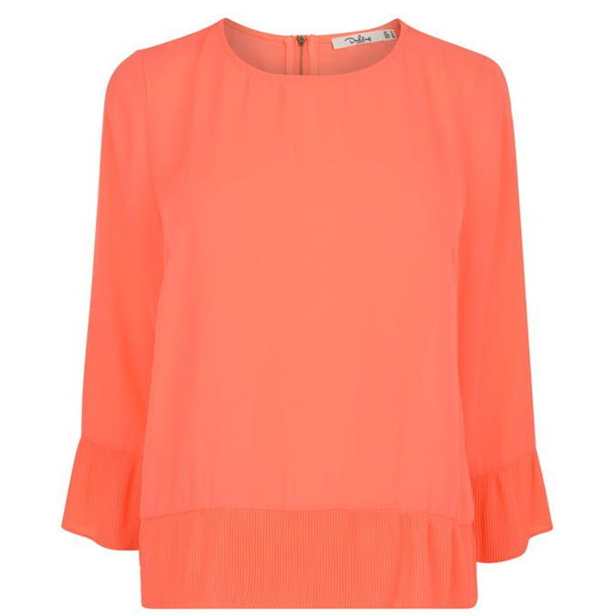 Pandora Top - neckline: round neck; sleeve style: bell sleeve; pattern: plain; predominant colour: bright orange; occasions: work, occasion; length: standard; style: top; fibres: polyester/polyamide - 100%; fit: body skimming; sleeve length: 3/4 length; texture group: sheer fabrics/chiffon/organza etc.; pattern type: fabric; season: a/w 2016; wardrobe: highlight