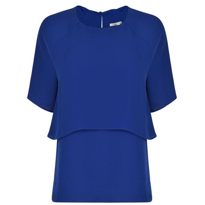 Talah Blouse - pattern: plain; style: blouse; bust detail: ruching/gathering/draping/layers/pintuck pleats at bust; predominant colour: royal blue; occasions: casual; length: standard; fibres: polyester/polyamide - 100%; fit: body skimming; neckline: crew; sleeve length: short sleeve; sleeve style: standard; texture group: crepes; pattern type: fabric; season: a/w 2016; wardrobe: highlight