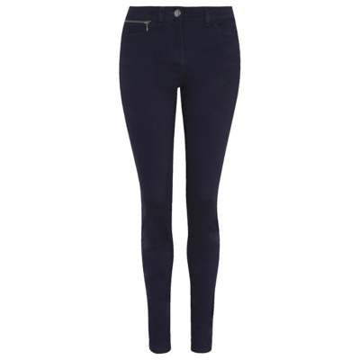 Zip Detail Trousers Navy - pattern: plain; waist: high rise; predominant colour: navy; occasions: casual, creative work; length: ankle length; fibres: cotton - stretch; texture group: cotton feel fabrics; fit: skinny/tight leg; pattern type: fabric; style: standard; wardrobe: basic; season: a/w 2016