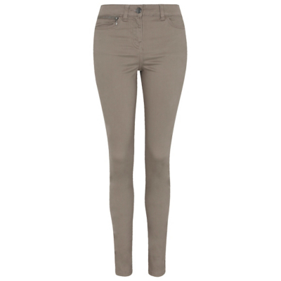 Zip Detail Trousers Stone Nude - length: standard; pattern: plain; style: peg leg; waist: high rise; predominant colour: stone; occasions: casual, creative work; fibres: cotton - stretch; texture group: cotton feel fabrics; fit: tapered; pattern type: fabric; wardrobe: basic; season: a/w 2016