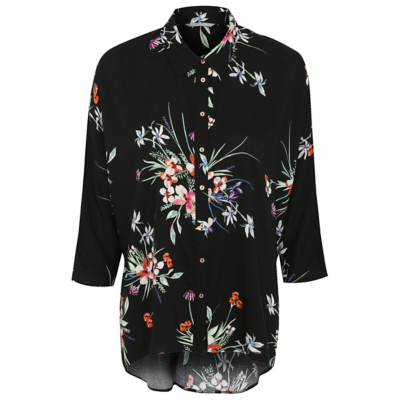 Floral Print Oversize Shirt Multi - neckline: shirt collar/peter pan/zip with opening; style: shirt; secondary colour: true red; predominant colour: black; occasions: casual; length: standard; fibres: viscose/rayon - 100%; fit: body skimming; sleeve length: 3/4 length; sleeve style: standard; pattern type: fabric; pattern size: standard; pattern: florals; texture group: jersey - stretchy/drapey; multicoloured: multicoloured; season: a/w 2016; wardrobe: highlight