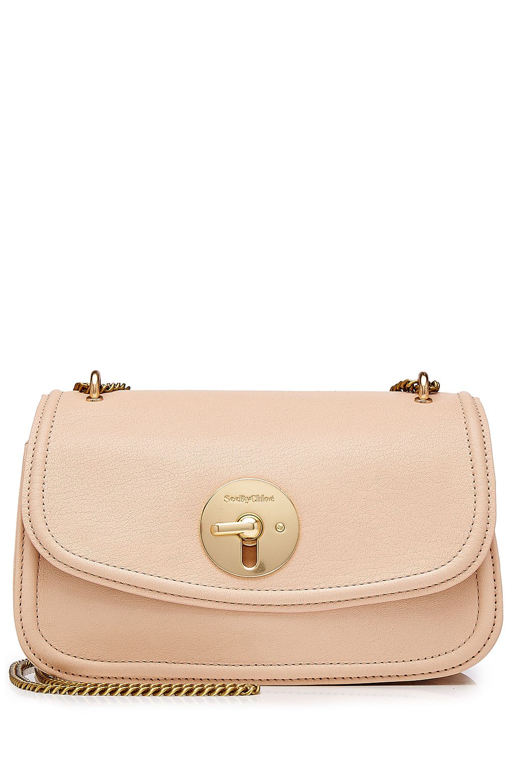 Leather Shoulder Bag Beige - predominant colour: nude; secondary colour: gold; occasions: casual, creative work; type of pattern: standard; style: shoulder; length: shoulder (tucks under arm); size: standard; material: leather; pattern: plain; finish: plain; wardrobe: investment; season: a/w 2016