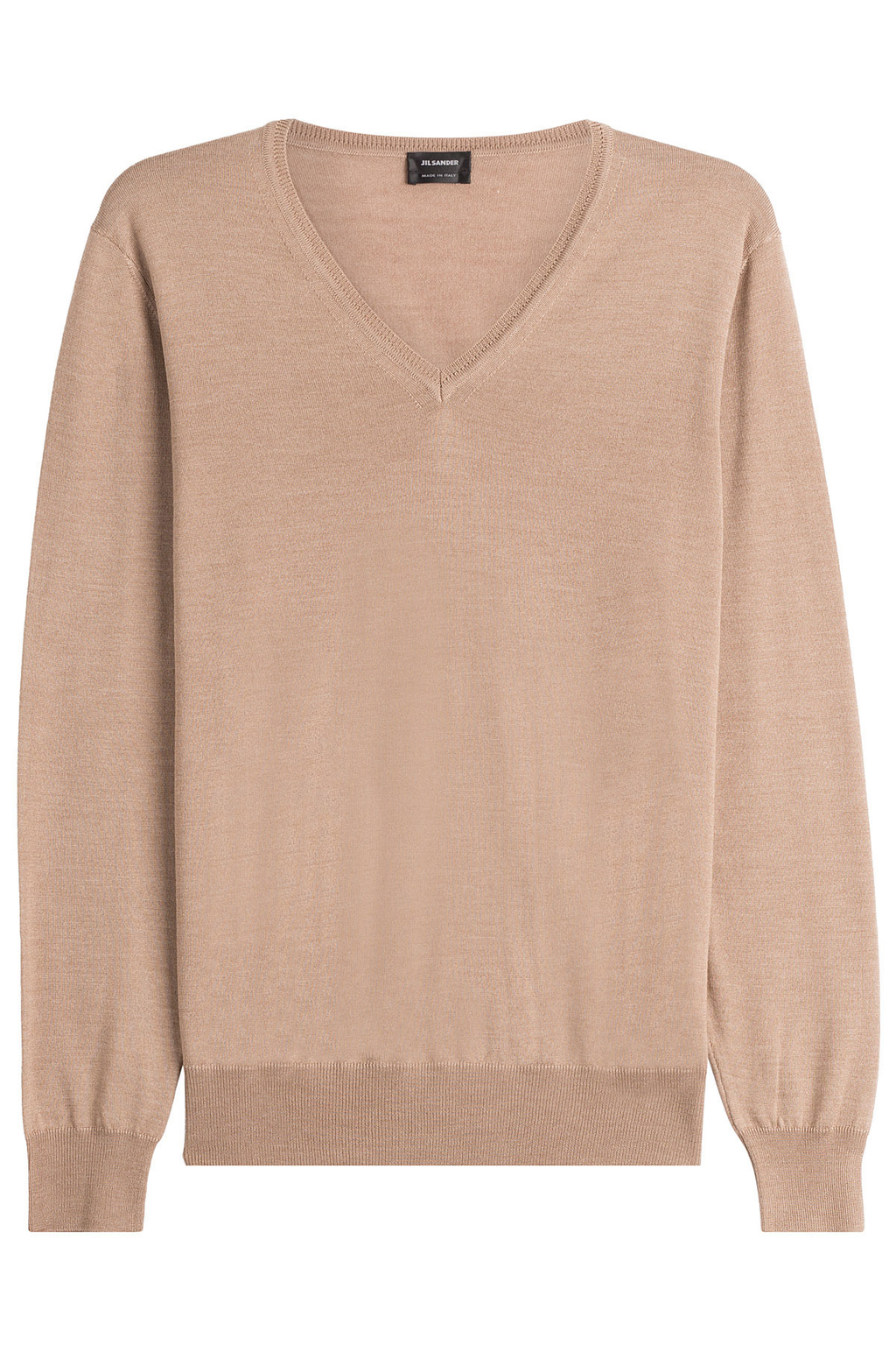 Pullover With Wool And Silk - neckline: v-neck; pattern: plain; style: standard; predominant colour: camel; occasions: casual, work, creative work; length: standard; fibres: wool - mix; fit: standard fit; sleeve length: long sleeve; sleeve style: standard; texture group: knits/crochet; pattern type: knitted - fine stitch; wardrobe: basic; season: a/w 2016