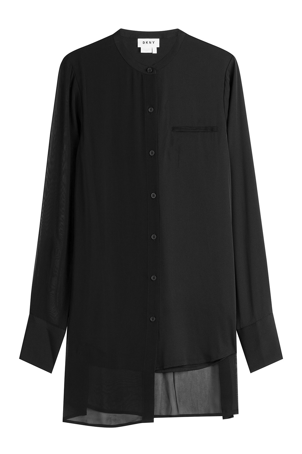 Silk Blouse With Asymmetric Hem - pattern: plain; length: below the bottom; style: blouse; predominant colour: black; occasions: evening; fibres: silk - 100%; fit: loose; neckline: crew; sleeve length: long sleeve; sleeve style: standard; texture group: silky - light; pattern type: fabric; season: a/w 2016; wardrobe: event
