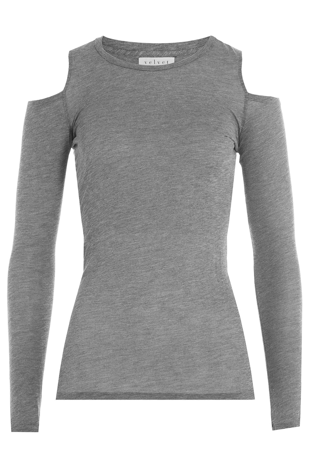 Jersey Top With Cutout Shoulders - pattern: plain; predominant colour: mid grey; occasions: casual; length: standard; style: top; fit: body skimming; neckline: crew; shoulder detail: cut out shoulder; sleeve length: long sleeve; sleeve style: standard; pattern type: fabric; texture group: jersey - stretchy/drapey; fibres: viscose/rayon - mix; season: a/w 2016; wardrobe: highlight