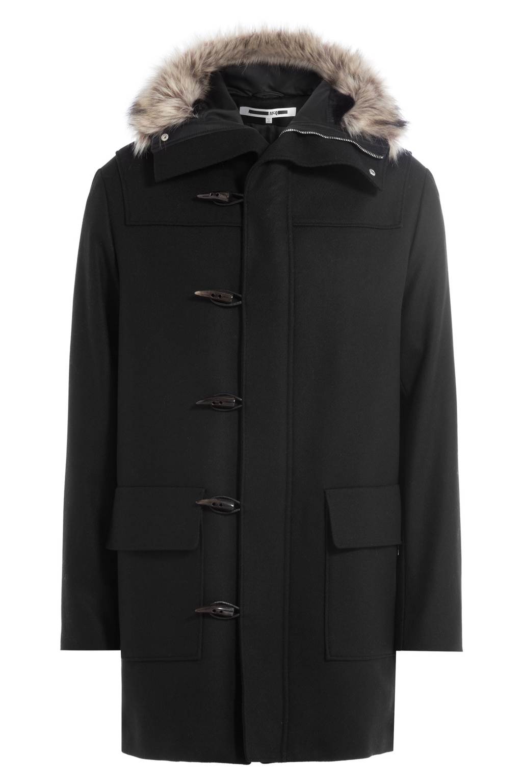 Duffle Parka With Wool And Faux Fur Trim - pattern: plain; length: below the bottom; collar: funnel; style: parka; back detail: hood; predominant colour: black; occasions: casual, work, creative work; fit: straight cut (boxy); fibres: wool - mix; sleeve length: long sleeve; sleeve style: standard; collar break: high; pattern type: fabric; texture group: woven bulky/heavy; embellishment: fur; season: a/w 2016; wardrobe: highlight; embellishment location: neck