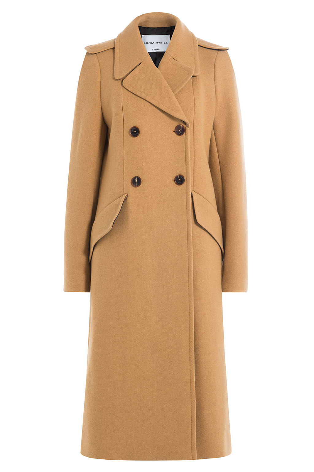 Wool Coat - pattern: plain; shoulder detail: obvious epaulette; collar: wide lapels; style: double breasted; length: calf length; predominant colour: camel; occasions: work, occasion; fit: tailored/fitted; fibres: wool - 100%; sleeve length: long sleeve; sleeve style: standard; collar break: medium; pattern type: fabric; texture group: woven bulky/heavy; wardrobe: investment; season: a/w 2016