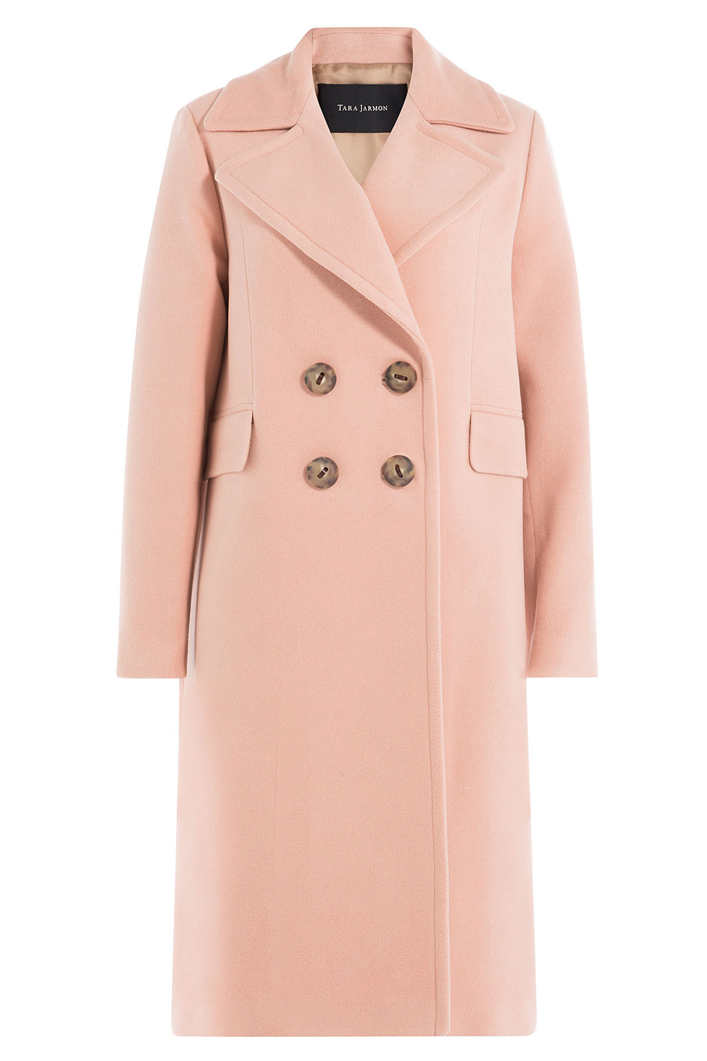 Coat With Virgin Wool And Cashmere Rose - pattern: plain; collar: wide lapels; style: double breasted; predominant colour: nude; occasions: casual, work, creative work; fit: tailored/fitted; fibres: wool - mix; length: below the knee; sleeve length: long sleeve; sleeve style: standard; collar break: medium; pattern type: fabric; texture group: woven bulky/heavy; season: a/w 2016