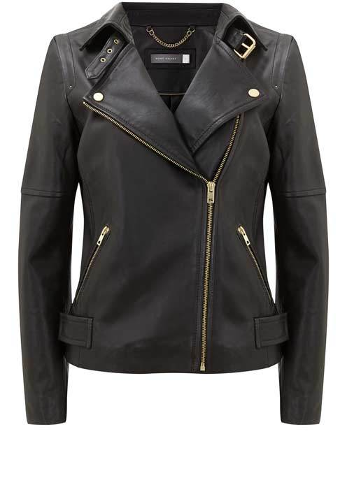 Black Clean Leather Biker Jacket - pattern: plain; style: biker; collar: asymmetric biker; fit: slim fit; predominant colour: black; occasions: casual, creative work; length: standard; fibres: leather - 100%; sleeve length: long sleeve; sleeve style: standard; texture group: leather; collar break: medium; pattern type: fabric; wardrobe: basic; season: a/w 2016