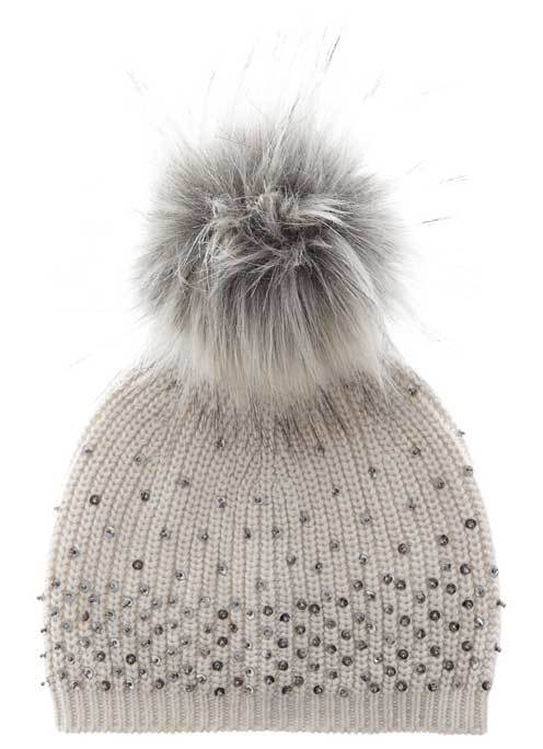 Neutral Embellished Hat - predominant colour: stone; occasions: casual; type of pattern: standard; style: bobble; size: standard; material: knits; pattern: plain; embellishment: bobble; season: a/w 2016