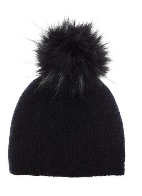 Navy Faux Fur Pom Pom Hat - predominant colour: black; occasions: casual; type of pattern: standard; style: bobble; size: standard; material: knits; pattern: plain; embellishment: bobble; season: a/w 2016