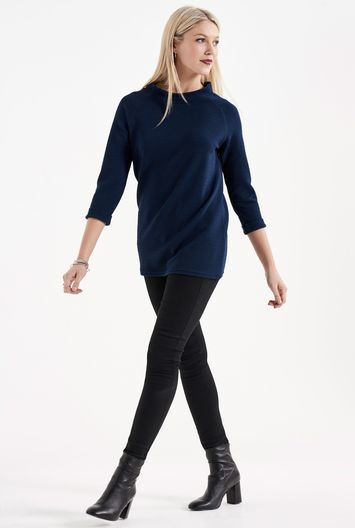 Tall Textured Roll Cuff Top At - pattern: plain; length: below the bottom; predominant colour: navy; occasions: casual; style: top; fibres: polyester/polyamide - stretch; fit: body skimming; neckline: crew; sleeve length: 3/4 length; sleeve style: standard; pattern type: fabric; texture group: jersey - stretchy/drapey; wardrobe: basic; season: a/w 2016