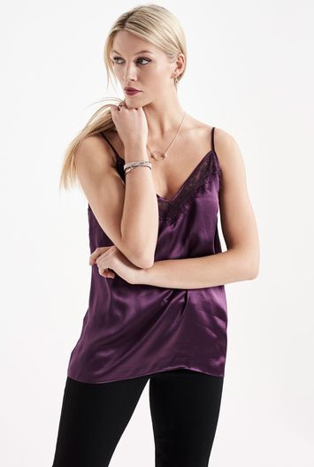 Tall Lace Trim Silk Camisole At - neckline: low v-neck; sleeve style: spaghetti straps; pattern: plain; style: camisole; predominant colour: aubergine; occasions: evening; length: standard; fibres: silk - 100%; fit: body skimming; sleeve length: sleeveless; texture group: silky - light; pattern type: fabric; embellishment: lace; season: a/w 2016; wardrobe: event