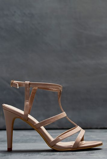 Tall Lts Ella Strappy Sandal At - predominant colour: nude; occasions: evening; material: faux leather; heel height: high; ankle detail: ankle strap; heel: stiletto; toe: open toe/peeptoe; style: strappy; finish: plain; pattern: plain; season: a/w 2016; wardrobe: event