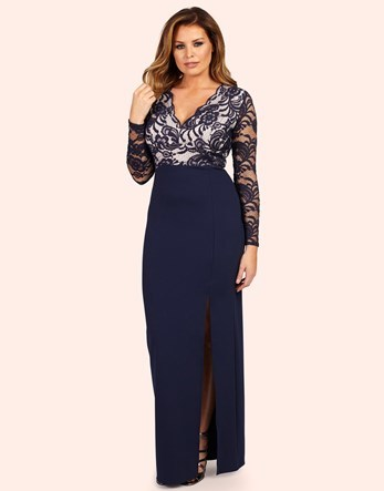 Long Sleeve Lace Dress - neckline: v-neck; pattern: plain; style: maxi dress; hip detail: draws attention to hips; sleeve style: leg o mutton; predominant colour: navy; occasions: evening; length: floor length; fit: body skimming; fibres: polyester/polyamide - stretch; sleeve length: long sleeve; pattern type: fabric; texture group: jersey - stretchy/drapey; embellishment: lace; season: a/w 2016; wardrobe: event